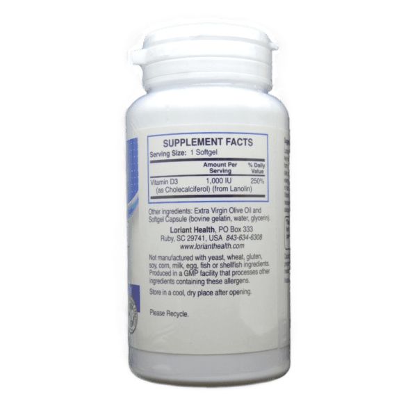 Vitamin D-3 Supplement Facts Label