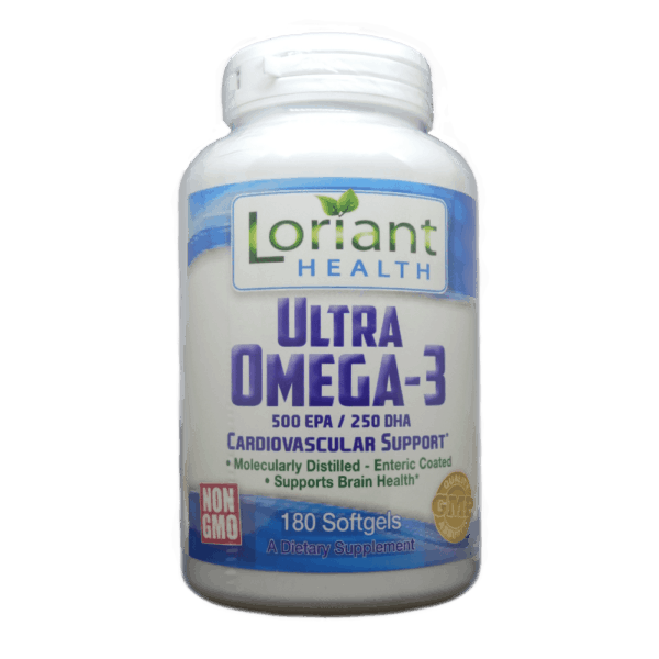 Ultra Omega-3 180 Softgels Front Bottle Label