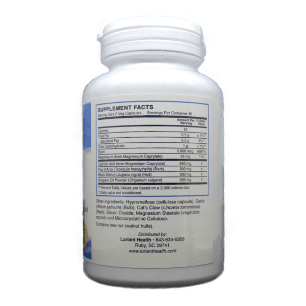 Candida Support Supplement Facts Label