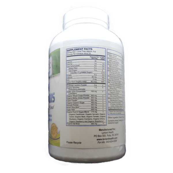 Green PhytoFoods Supplement Facts Part 1 Label