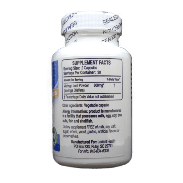 Moringa Supplement Facts Label