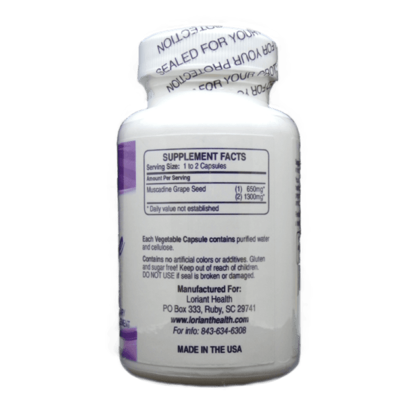 Muscadine Grape Seed Supplement Facts Label