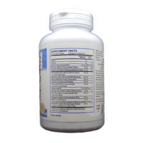 Prostate Health Supplement Facts Label