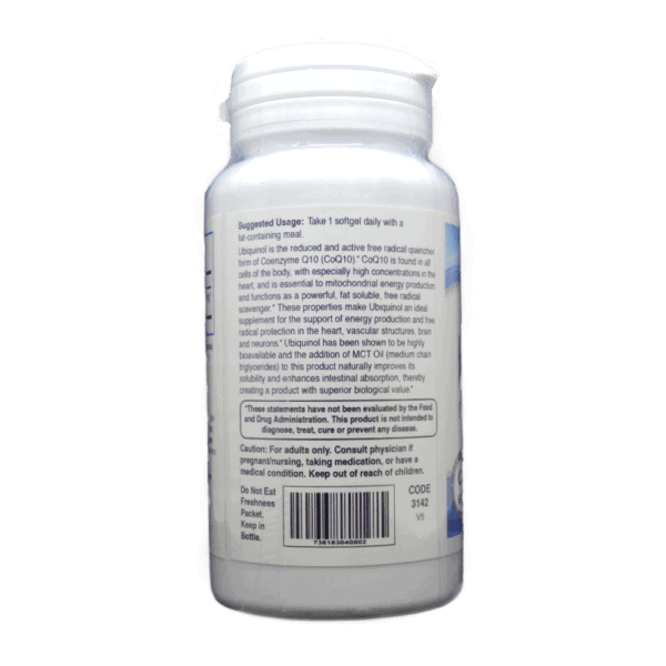 Ubiquinol 60 count usage and facts side panel