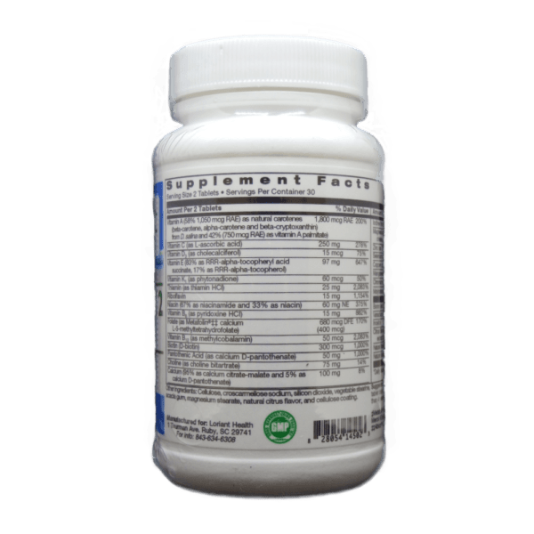 Complete 2 Multi Supplement Facts Label