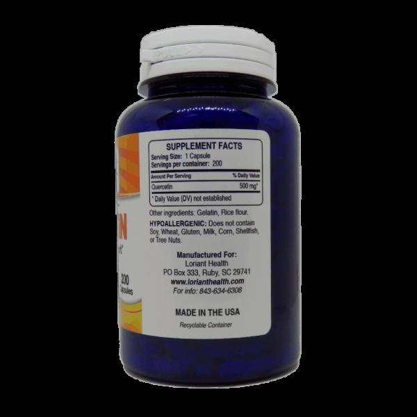 Quercetin Supplement Facts Label