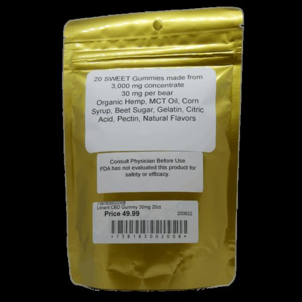 CBD Sweet Gummies Facts Label