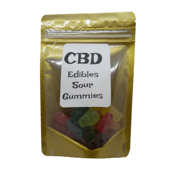 CBD Sour Gummies Package with Label