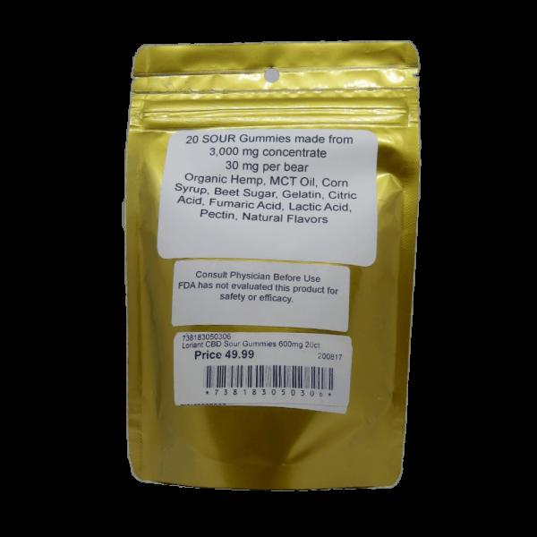 CBD Sour Gummies Facts Label
